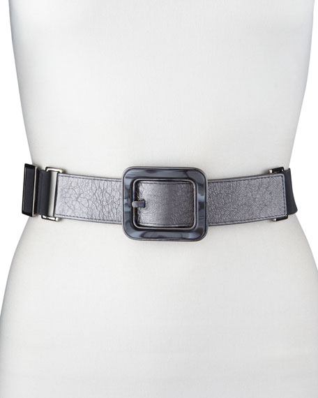 Resin-Buckle Stretch Belt, Gray