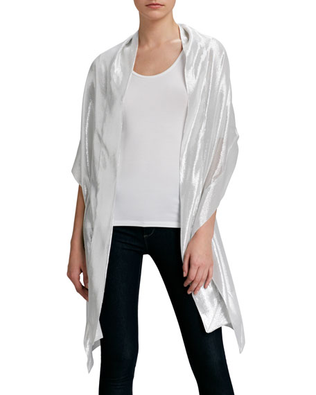 Metallic Silk Stole, Silver