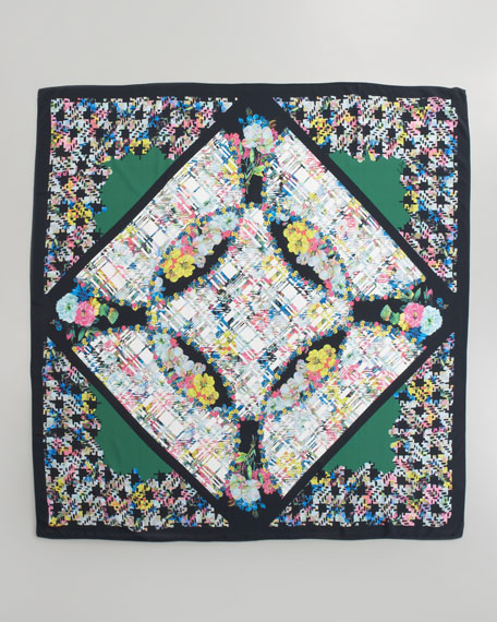 Large Floral Check Silk Scarf, Green/Multi