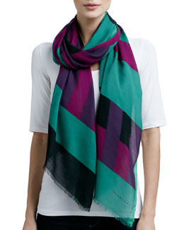 Burberry Striped-Print Scarf, Green/Purple