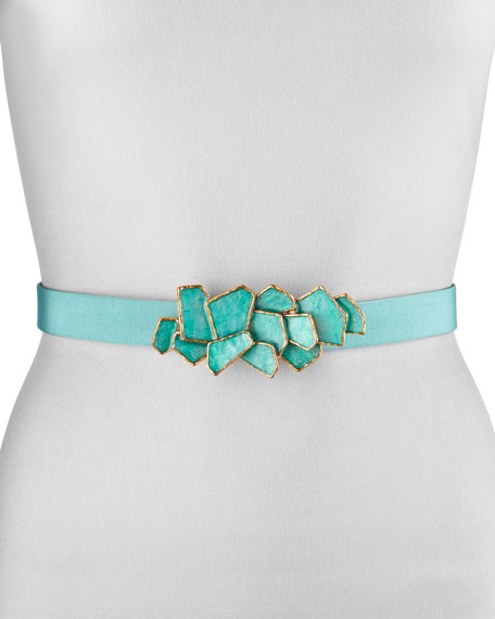 Faille Enamel Buckle Belt, Turquoise