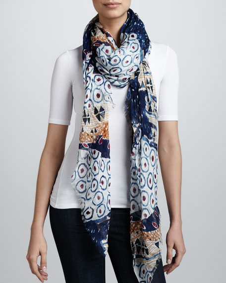 Collage-Print Scarf, Blue