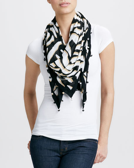 New Bubsy Day Scarf, Black/White/Tan