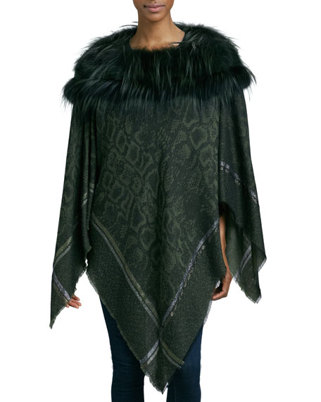Fox Fur-Trim Poncho, Olive Green