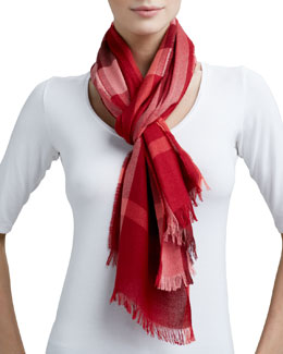 Burberry Cashmere Scarf, Coral Red Check