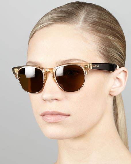 Metal & Enamel Sunglasses, Champagne/Tortoise