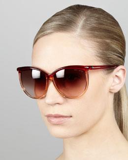 Tom Ford Josephine Ombre Enamel Sunglasses, Red/Beige