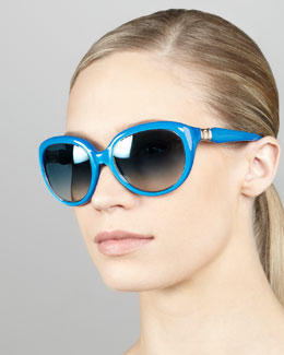 Roberto Cavalli Rounded Cat-Eye Sunglasses, Blue