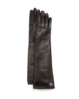 Gucci Guanti Donna Napa Leather Opera Gloves, Black