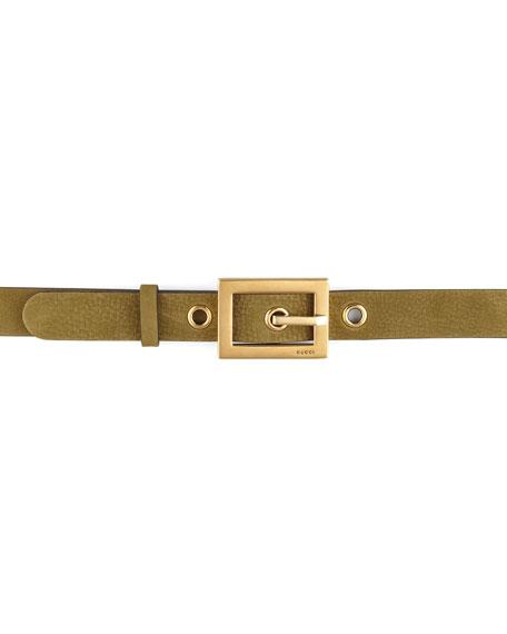 Suede Grommet Belt, Olive