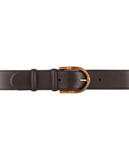 Gucci Bamboo Buckle Leather Belt, Brown
