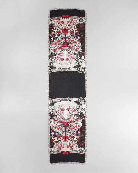 Artemisia Printed Silk Scarf, Black/White/Coral