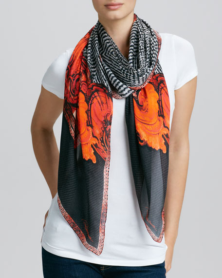 Tilda Tiled Print Silk Scarf, Black/Orange/White