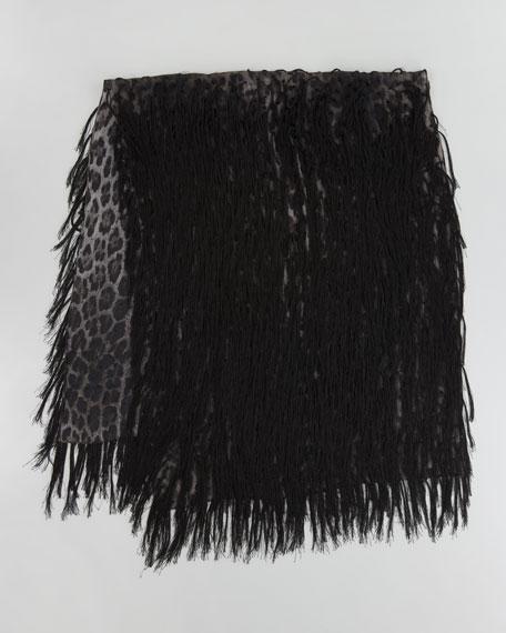 Fringed Leopard-Print Scarf, Black