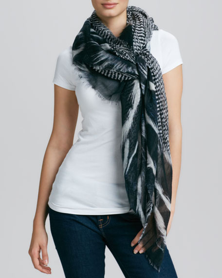 Goose Feather-Print Scarf, Black/Gray