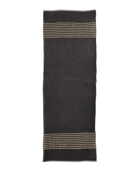 Nocturne Striped Shimmer Cashmere Scarf, Black/Gold