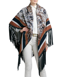 Loro Piana Le Jardin Leather-Fringe Cashmere Shawl, Amber/Navy