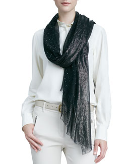 Loro Piana Crystal Drop & Shimmery Scarf, Black