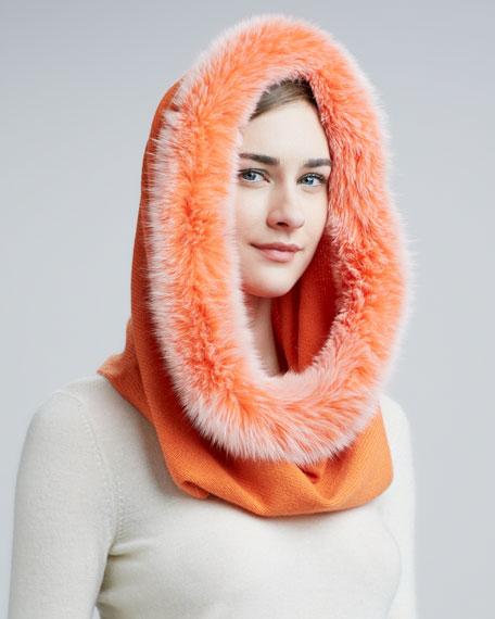 Snood Scarf with Fox Fur Trim