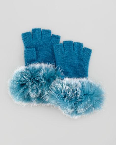 Fur-Cuff Fingerless Cashmere Gloves, Teal Blue