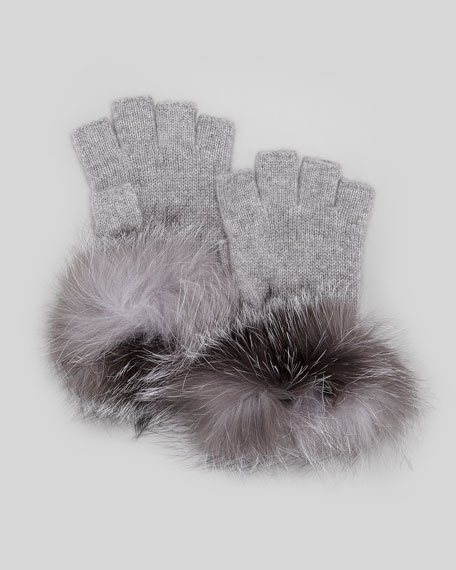 Fur-Cuff Fingerless Cashmere Gloves, Gray