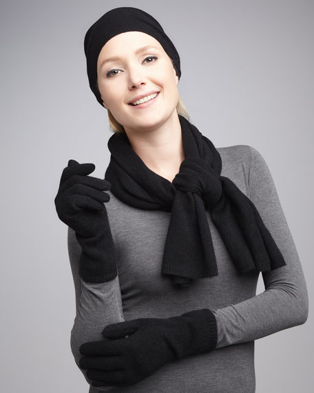 Slouchy Cashmere Hat, Gloves & Scarf, Black