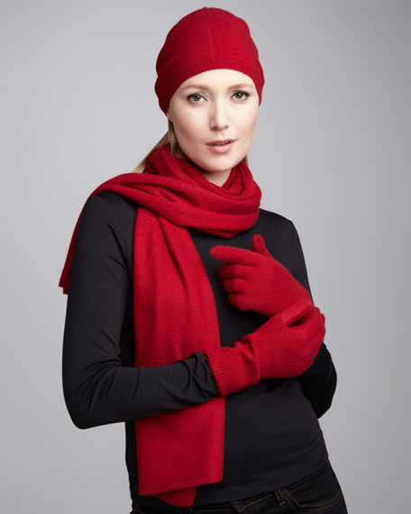 Slouchy Cashmere Hat, Gloves & Scarf, Red