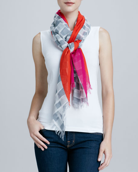 bow-print center-striped scarf, gray/pink/red