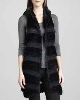 La Fiorentina Rex Rabbit Fur & Knit Vest, Black