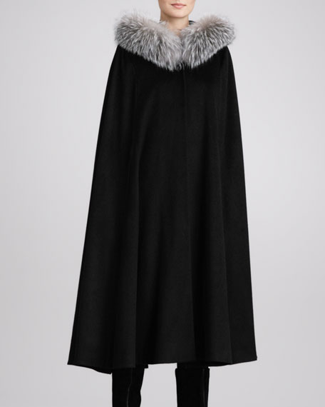 Fox Fur-Trim Hooded Cape, Black