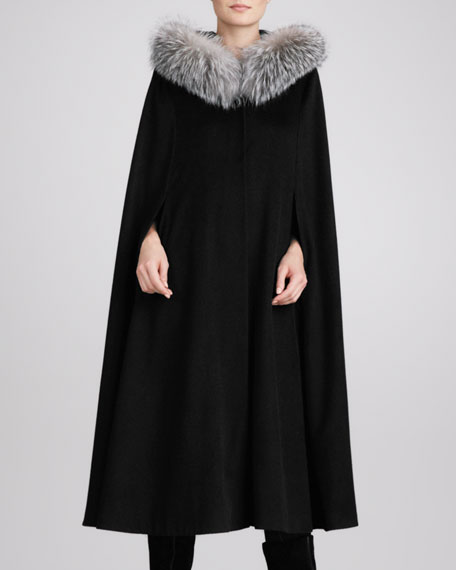 Fox Fur-Trim Hooded Cape, Black