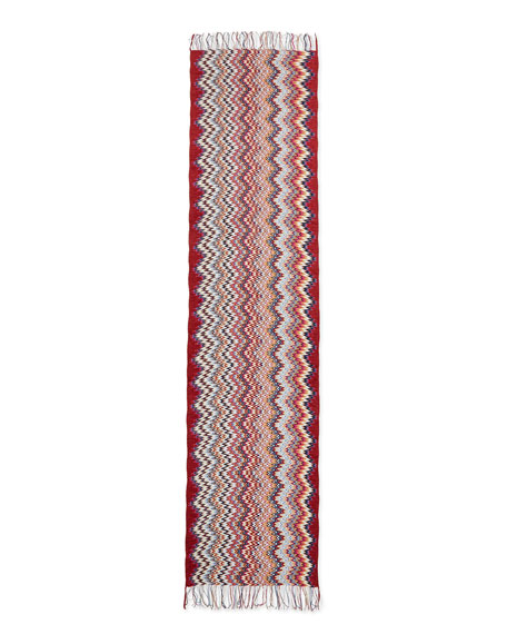 Zigzag Knit Scarf, Red/Black/Gold