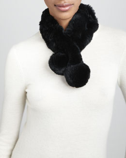 Belle Fare Rabbit Fur Neck Warmer, Black