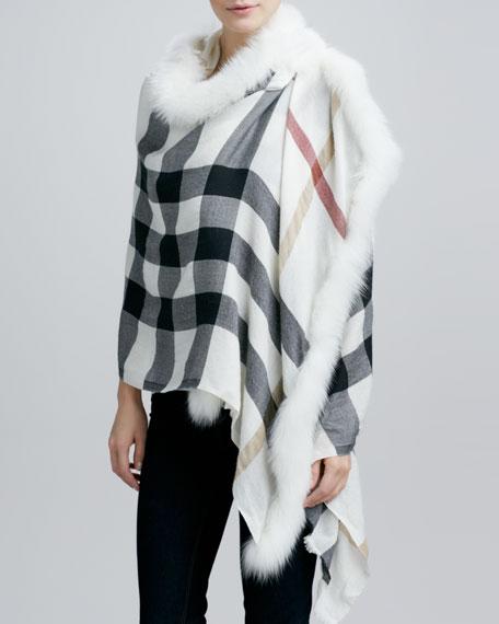 Burberry Fox Fur-Trim Woven Check Scarf, Ivory