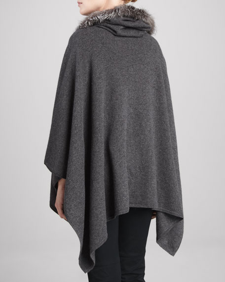 Fox-Trim Hooded Cashmere Poncho, Anthracite