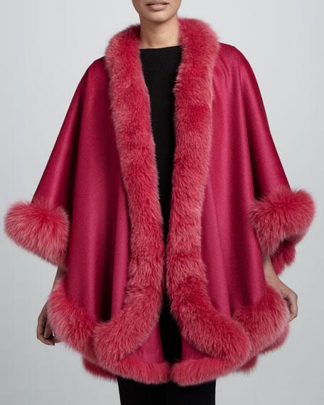 Fox Fur-Trimmed Cashmere U-Cape, Marchesa