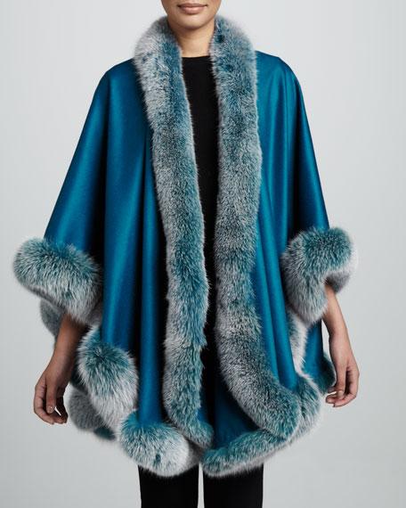 Fox Fur-Trimmed Cashmere U-Cape, Teal