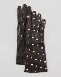 Portolano Pyramid-Studded Long Leather Tech Gloves, Black