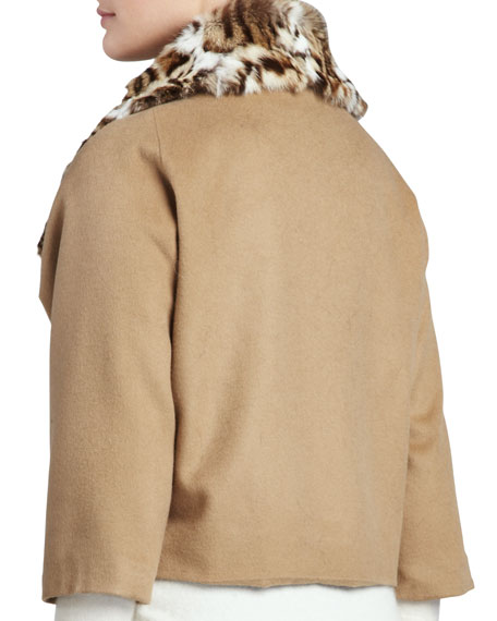 Lynx-Print Rabbit Fur-Trim Jacket