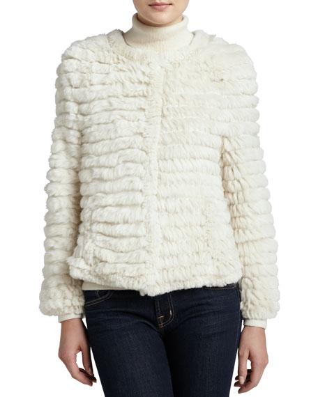 Tiered Rabbit Fur Cardigan, Ivory
