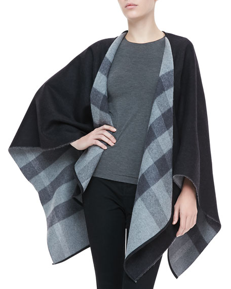 Burberry Merino Check Cape, Charcoal