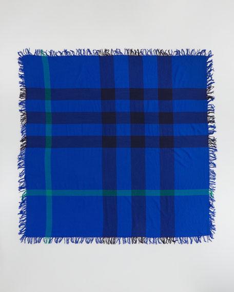 Check Extrafine Wool Scarf, Blue