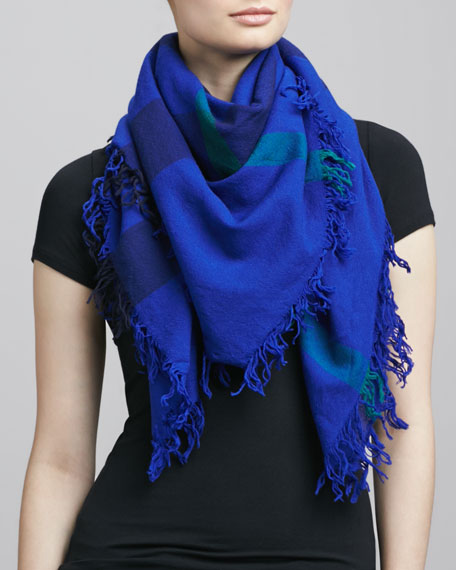 Check Extrafine Wool Scarf, Blue