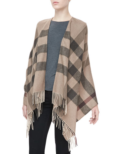 Smoked Trench Check Merino Cape, Dark Gray