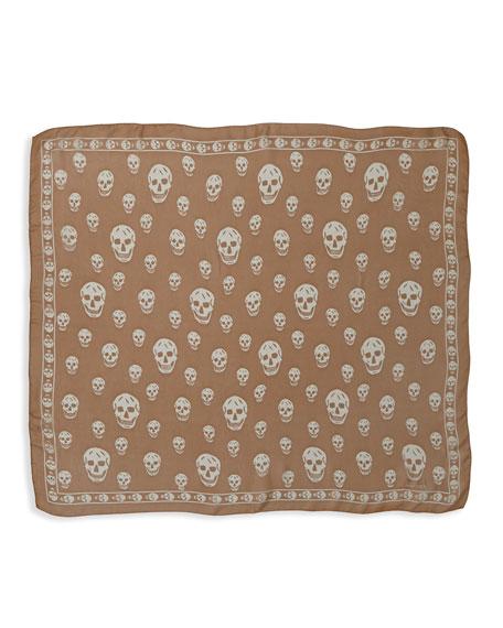 Skull-Print Chiffon Scarf, Natural/White