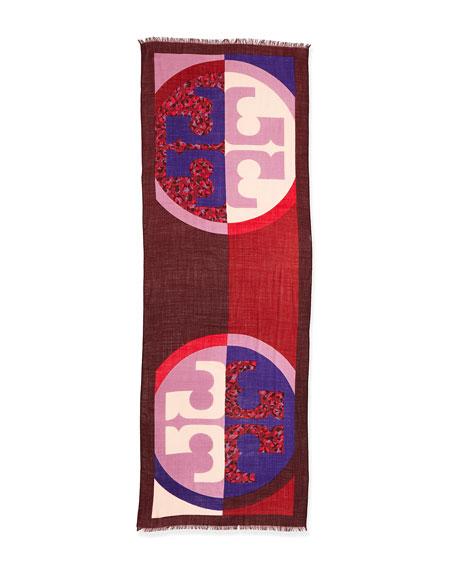 Reva Animal-Print Block Scarf, Purple/Pink