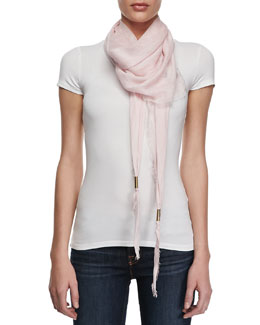 Gucci Trigon Acantha Scarf, White/Pink