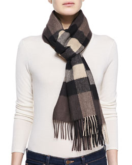 Burberry Half Mega Check Cashmere Scarf, Chocolate