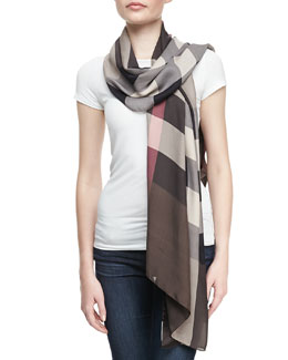 Burberry Oblong Check Scarf, Brown