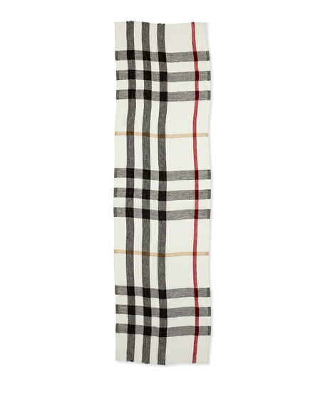 Core Oblong Linen Check Scarf, Ivory